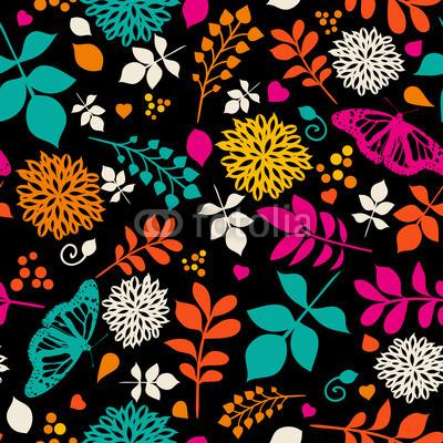 Floral Bright Seamless Patterns with Flowers and Butterfly ...