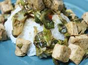 Jasmine Rice Topped with Tofu Chopped Brussels Sprouts...