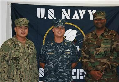 Navy Seabees display Navy Working Uniform Type III