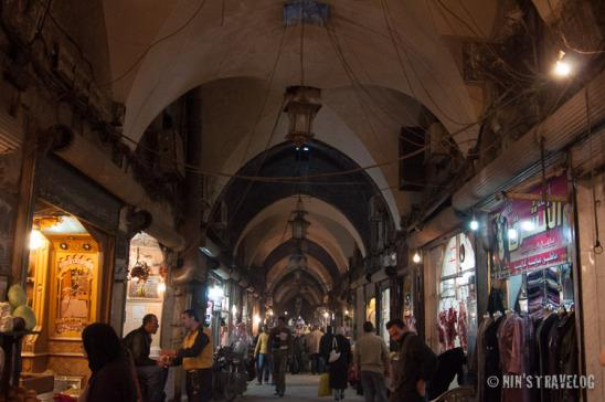Corridor of Al Madina Souk (covered bazaar) of Aleppo with it's cloister-vault ceiling from the Medieval period