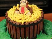 Donkey Kong Cake with Barrel Bananas