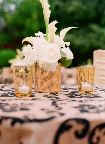 Flowers in Gold Vases