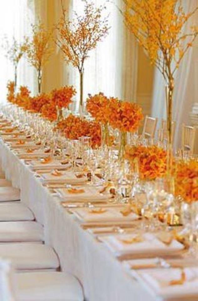6 beautiful wedding table centerpieces and arrangements for Pictures of fall table decorations