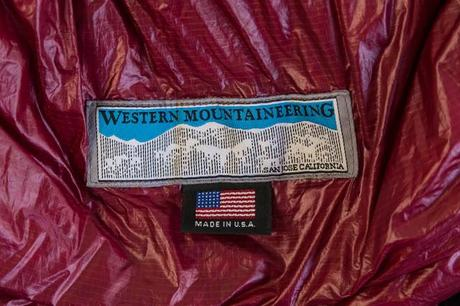 made in usa label on western mountaineering alpinlite sleeping bag