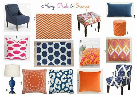 Navy, Pink, and Orange
