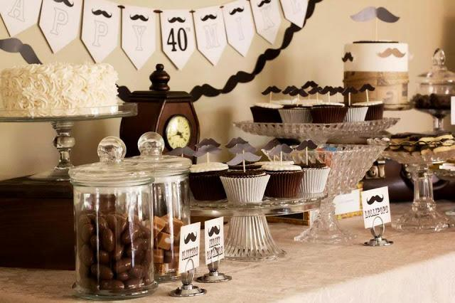 moustache party dessert buffet for a 40th birthday by naatje patisserie cupcakes cakes and. Black Bedroom Furniture Sets. Home Design Ideas