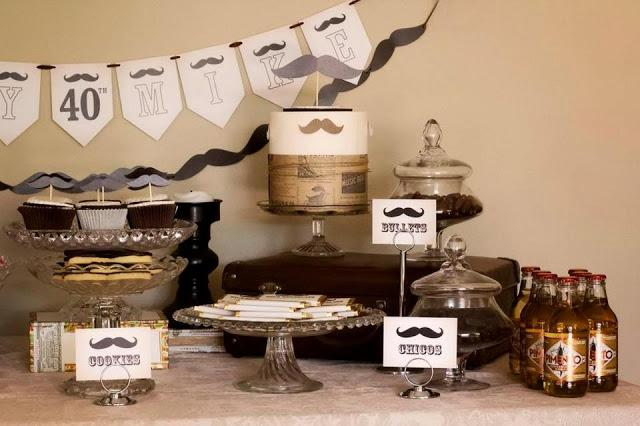 Moustache party dessert buffet for a 40th birthday by for 40 year old birthday decoration ideas