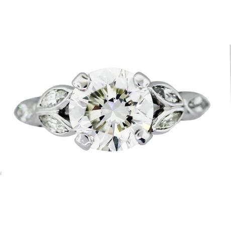 round diamond engagement ring, floral engagement rings, flower engagement ring