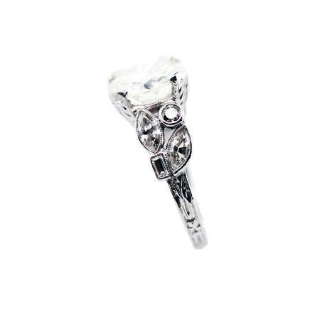 Antique floral engagement ring, antique diamond ring, vintage platinum and diamond ring