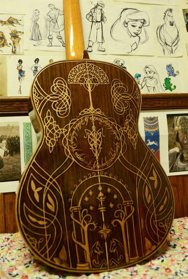 Acoustic Guitar Decorated With Scenes From Lord Of The