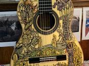 Acoustic Guitar Decorated with Scenes from Lord Rings