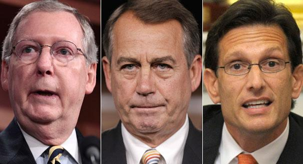 Mitch McConnell, John Boehner and Eric Cantor are shown in a composite. | AP Photos