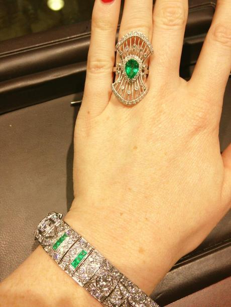 Art Deco Emerald Ring, platinum diamond and emerald art deco ring