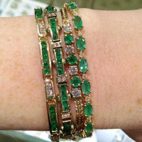 emerald line bracelets, emerald and gold bracelet, emerald tennis bracelet