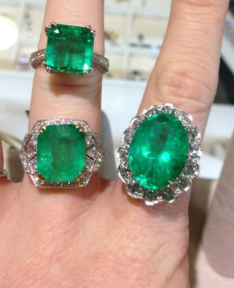 emerald rings: a square cut emerald ring, art deco inspired emerald ring, 13 carat emerald ring