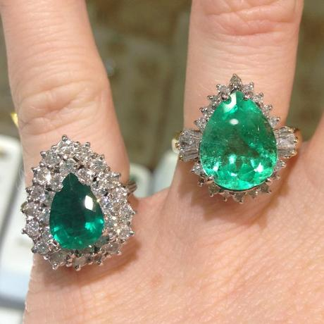 pear shaped emerald rings with diamonds