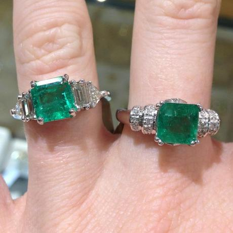 emerald and diamond engagement rings, square emerald ring with emerald cut diamonds