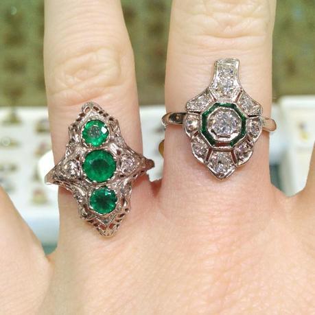 antique platinum and emerald rings, emerald birthstone jewelry