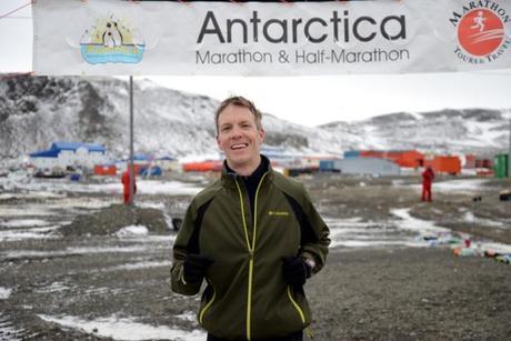 Mike Sohaskey finishing Antarctica Marathon 2013