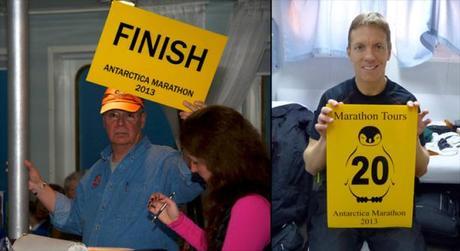 John Bingham & Mike Sohaskey at Antarctica Marathon auction for Oceanites