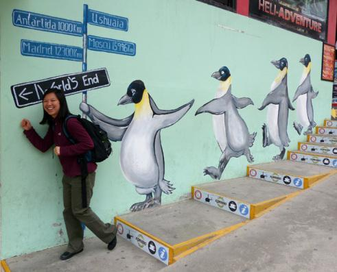 Katie Ho leading penguin line in Ushuaia