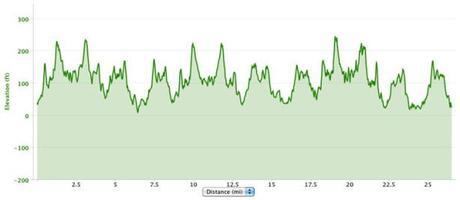 Antarctica Marathon 2013 course elevation profile