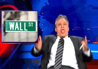 Jon Stewart sticking his tongue out and doing some sort of humping motion? Maybe?
