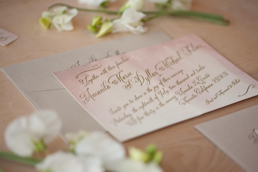Most Popular Wedding Invitations: Watercolor Wedding Invitation With Belluccia Calligraphy