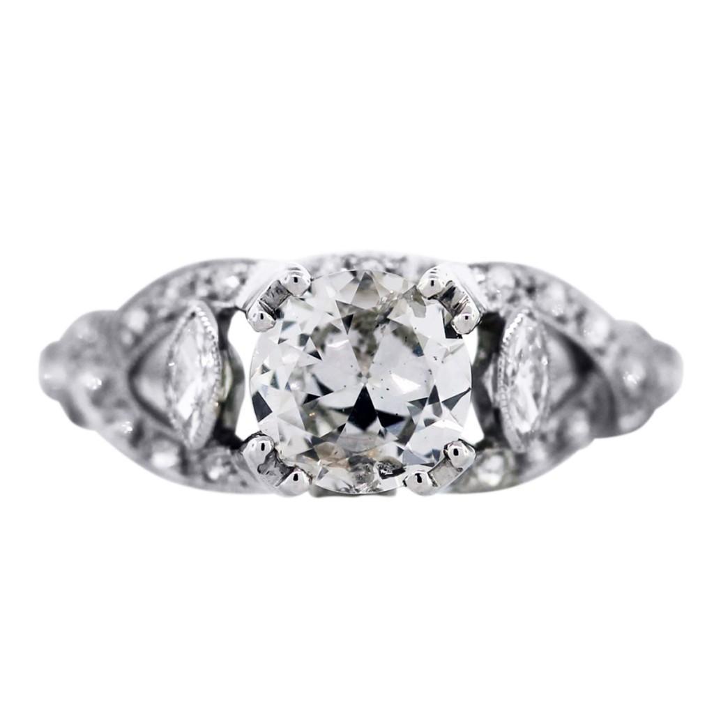 Platinum Engagement Ring, Diamond Engagement Ring, Vintage Style Engagement  Ring