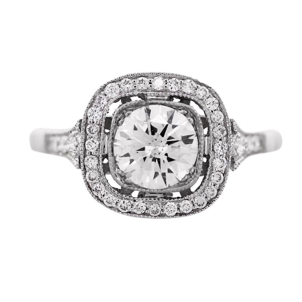 platinum vintage style 102 carat diamond engagement ring - Antique Style Wedding Rings