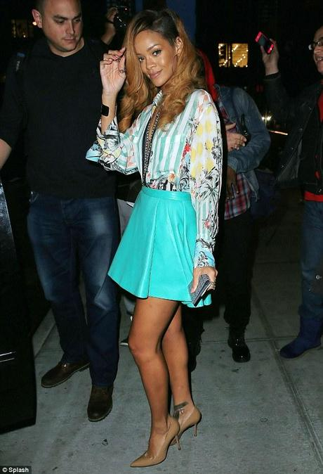 Rihanna out and about in NYC wearing Balmain and Manaolo...