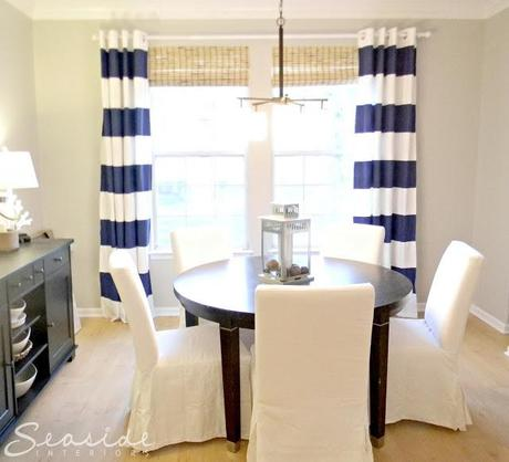 DIY Navy Painted Curtains