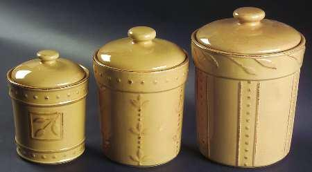 3-Piece Canister Set (box Set) in the Sorrento-Wheat (gold) pattern by Signature