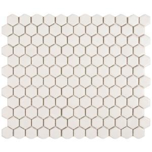 Merola Tile Metro Hex Matte White 10-1/4 in. x 11-3/4 in. Porcelain Mosaic Floor and Wall Tile