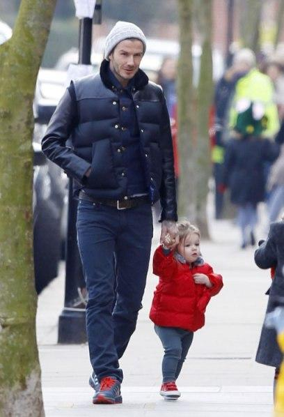 Harper Beckham in French Soles with David Beckham