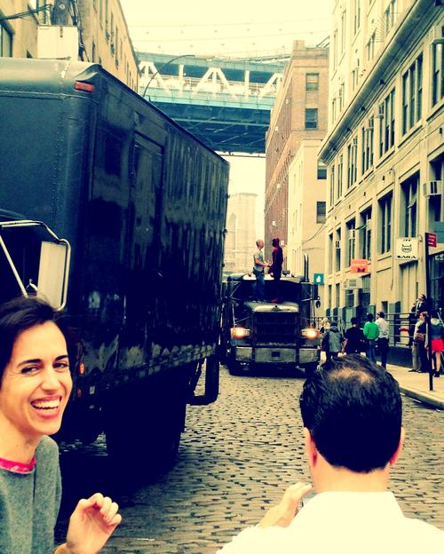 "Spiderman filming in Dumbo today. Requisite ""I was there"" shot featuring Marilu."