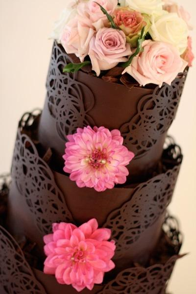 Chocolate Lace Wedding Cake with Flowers