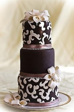 Chocolate Wedding Cake with Calla Lilies