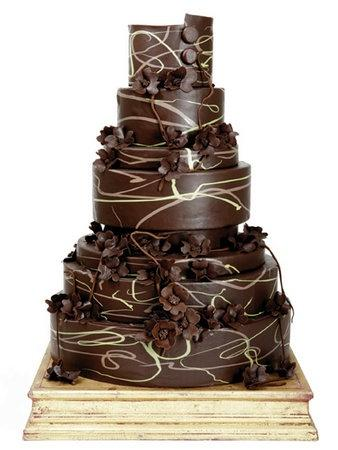 Chocolate Swirl Wedding Cake with Brown Blossoms