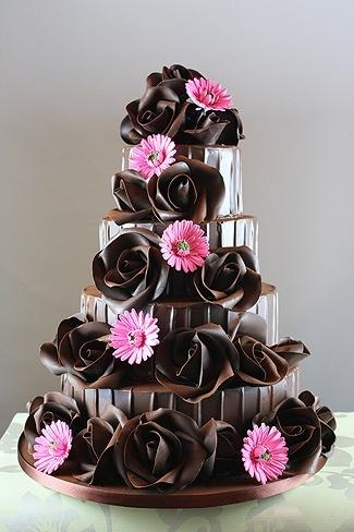 Chocolate Rose Wedding Cake with Pink Blossoms