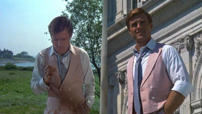 Gatsby has a vested interest in- Ah, I don't even want to finish whatever the stupid pun would've been. Here's Robert Redford in a pink waistcoat.