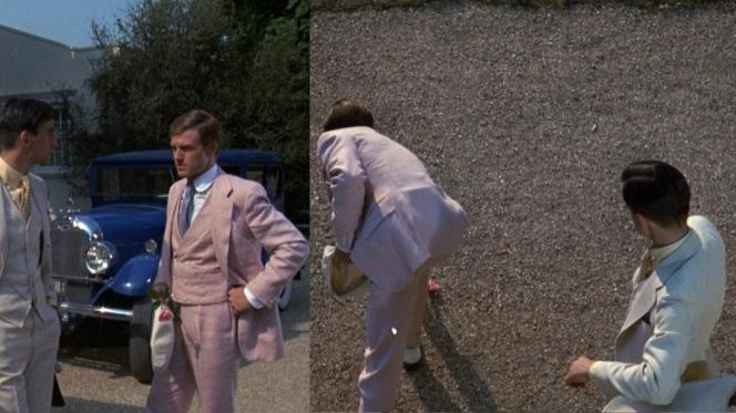 Not for nothing, but the direction of Sam Waterston's gaze in these screenshots certainly lend credence to the theory that Nick Carraway was a latent homosexual who fell in love with Gatsby. Of course, it could just be poor timing.