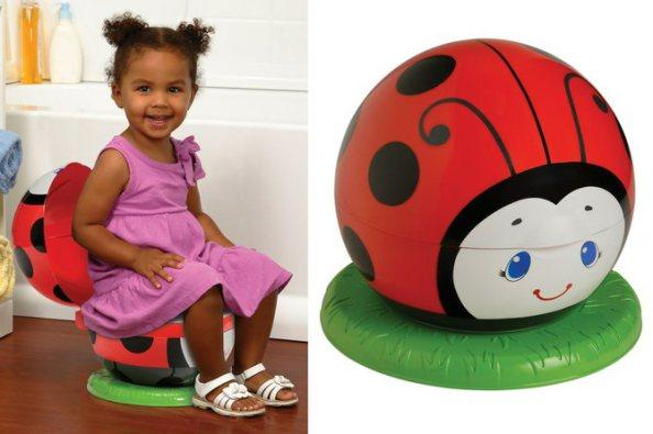 Cute kid. Cute idea. Seems to be working too. Sure hope the child doesn't equate toilet with ladybugs and do this for life.