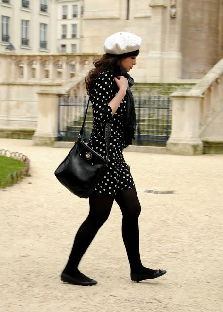 coco and vera, paris, street style, fashion blogger, brunette, in style, polka dots