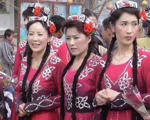 More typical Asian Uighur women are seen here.