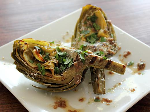 Grilled Artichoke Quarters with Anchovy Garlic Drizzle - a ...