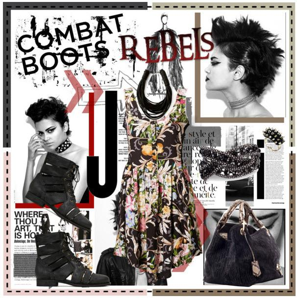 NASTY GAL Slashed Combat Boots & Rebel Fashion Look ...