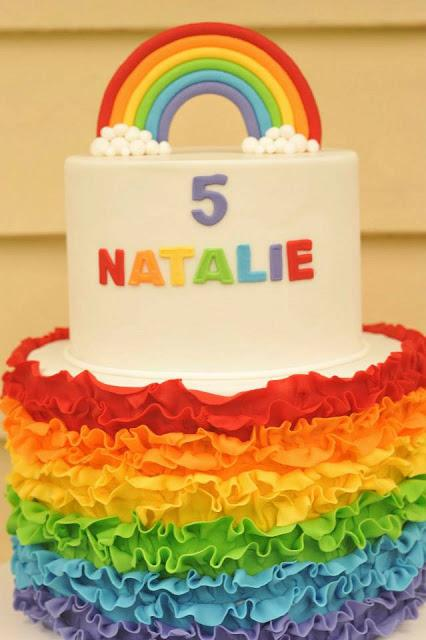 Birthday Cake Ideas Rainbow : Rainbow Themed 5th Birthday Party by Rebellyous Cake Co ...
