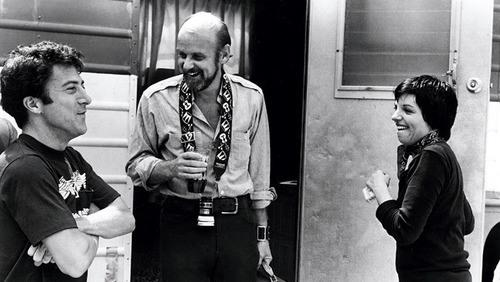 "Bob Fosse on the set of ""Cabaret"" with Liza Minelli and a visiting Dustin Hoffman,whom later directed in Lenny."