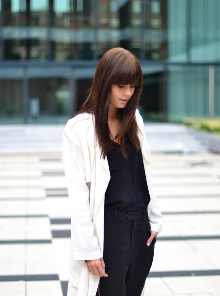 outfit white silky coat black blouse